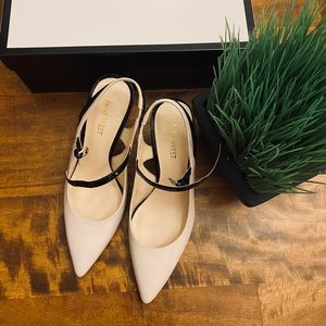 Nine West off white pump with leather straps